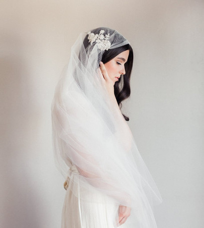 фата ретро, фата Юлии Кэп, недлинная фата, невеста