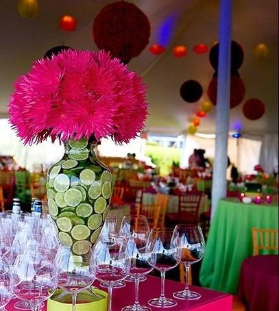 свадьба в цвете фуксия, декор свадебного банкета