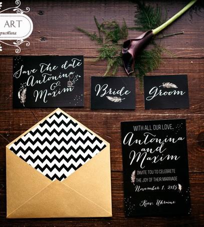 Пригласительные на свадьбу чёрный с золотом идеи