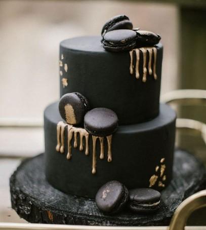 свадебный торт, чёрный торт свадебный, торт на свадьбу, 2018 торт, чёрный торт с золотом