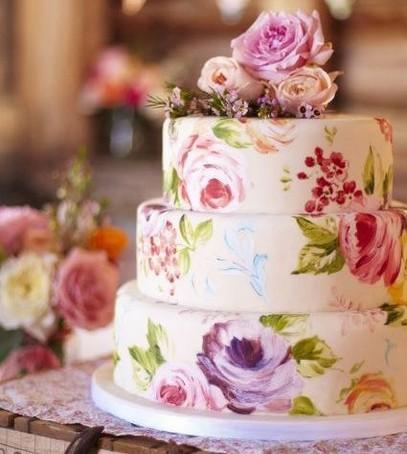 свадебный торт с акварельной росписью, многоярусный , светлый, модный торт 2017