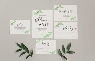 Пригласительные на свадьбу растительные минимализм