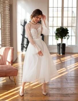 свадебное платье недлинное