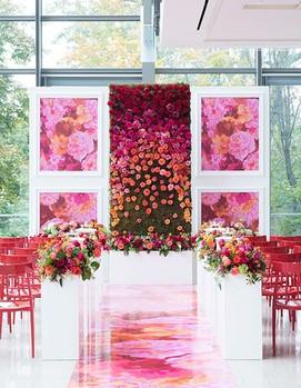 свадьба в цвете фуксия, оформление свадебной церемонии