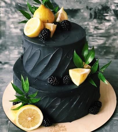 свадебный торт, чёрный торт свадебный, торт на свадьбу, 2018 торт, чёрный торт с лимоном, ежевика