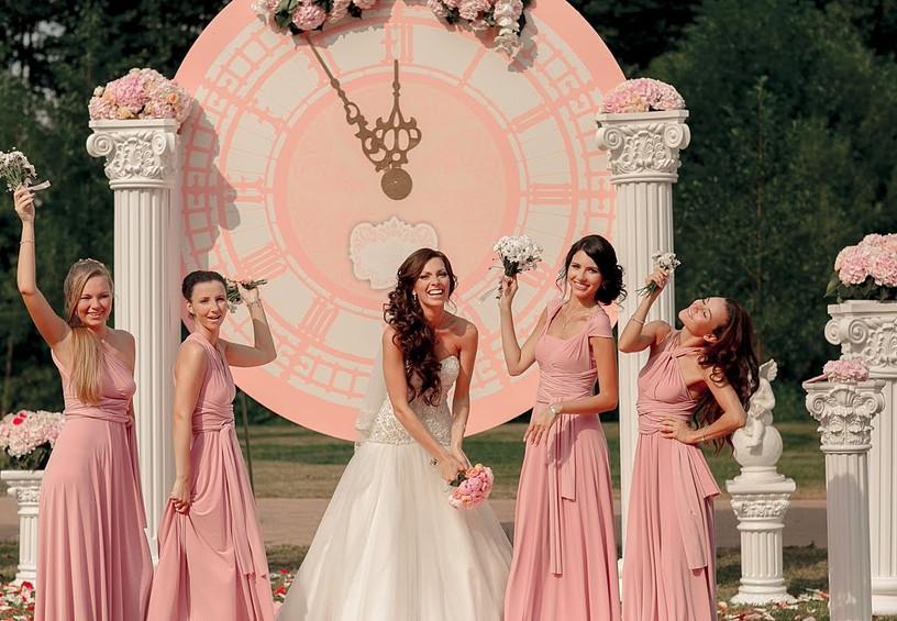 невеста, свадьба, подружки невесты, розовые платья невесты, четыре подружки невесты, летняя свадьба