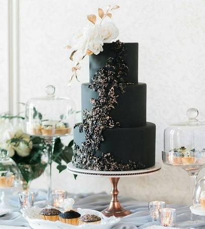 свадебный торт, чёрный торт свадебный, торт на свадьбу, 2018 торт, чёрный торт