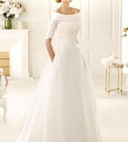 Свадебное платье с прямым вырезом
