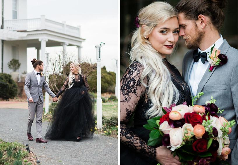 свадьба, жених и невеста, молодожёны, невеста в чёрном, чёрное свадебное платье,
