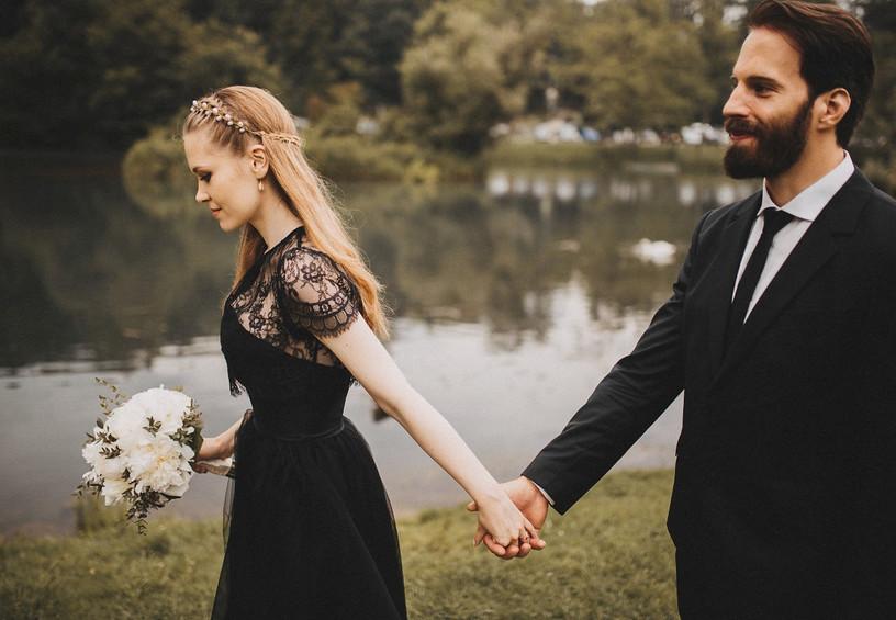 чёрное свадебное платье, невеста в чёрном, чёрная свадьба, свадебная фотосессия