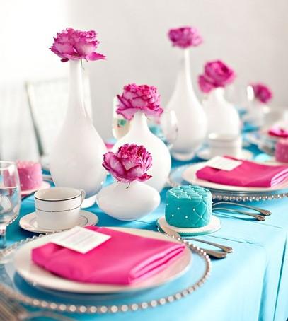 свадьба в цвете фуксия, сочетание фуксии и бирюзы