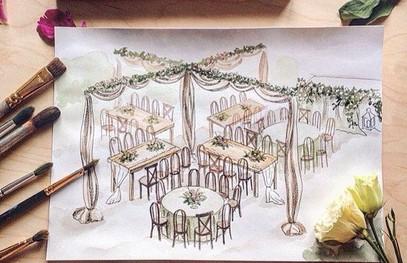 Эскизы свадебных декораций акварель