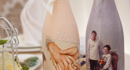 Оформление шампанского в подарок