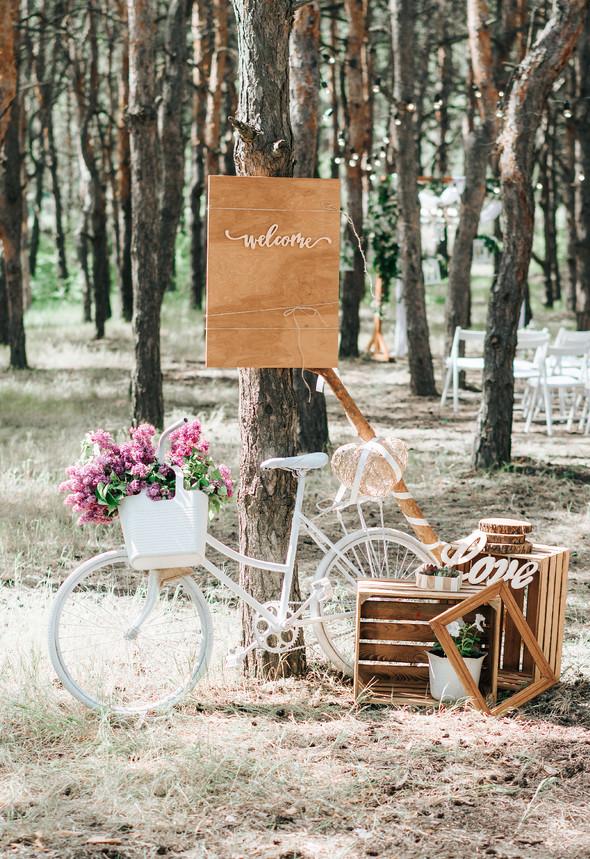 Нежная рустик-свадьба в лесу - фото №66